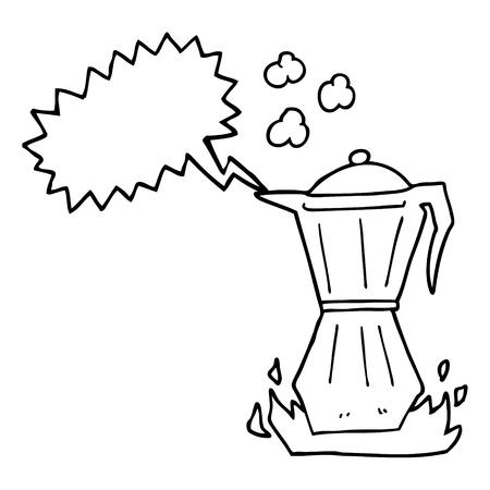 stovetop: freehand drawn speech bubble cartoon stovetop espresso maker
