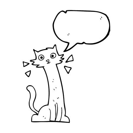 realization: freehand drawn speech bubble cartoon cat