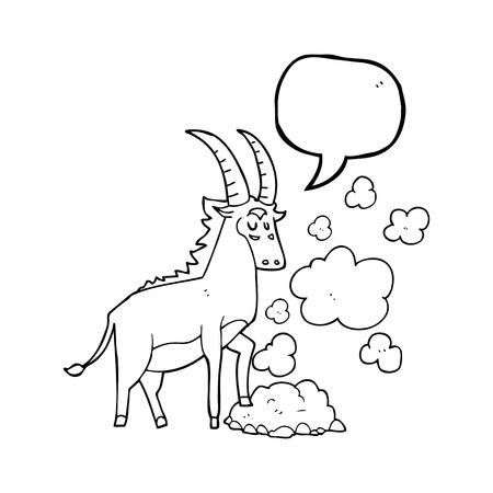 antelope: freehand drawn speech bubble cartoon antelope Illustration