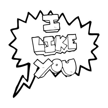 i like: I like you freehand drawn speech bubble cartoon symbol Illustration
