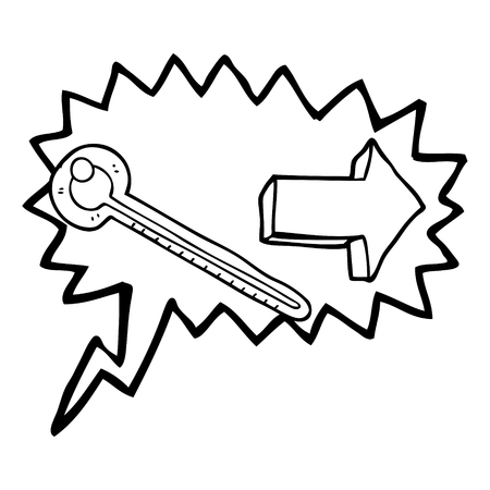 Freehand Drawn Speech Bubble Cartoon Thermometer Royalty Free