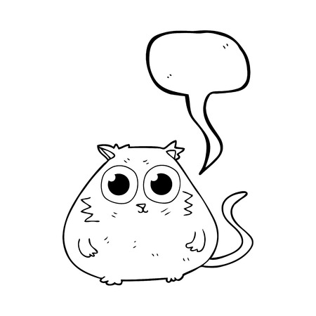 pretty eyes: freehand drawn speech bubble cartoon cat with big pretty eyes Illustration