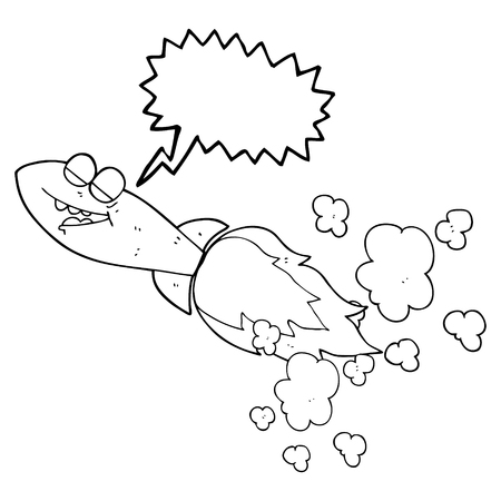 missile: freehand drawn speech bubble cartoon missile Illustration