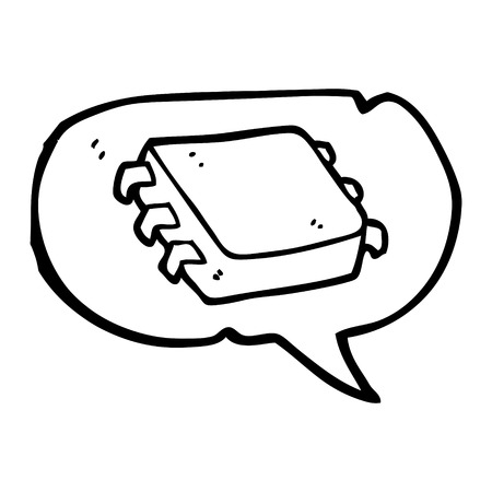 computer chip: freehand drawn speech bubble cartoon computer chip