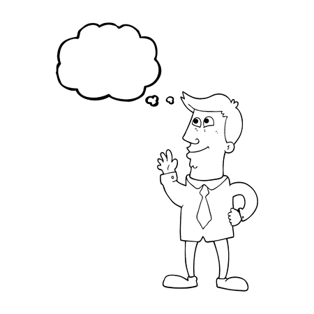thought bubble: freehand drawn thought bubble cartoon waving man Illustration