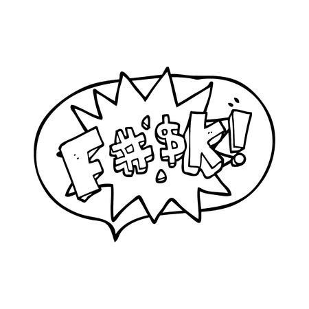 obscenity: freehand drawn speech bubble cartoon swearword
