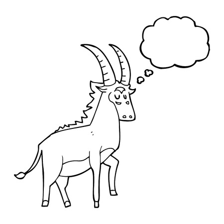 antelope: freehand drawn thought bubble cartoon antelope