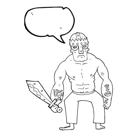 thug: freehand drawn speech bubble cartoon warrior with sword Illustration