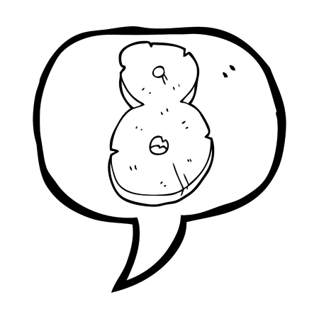 crumbling: freehand drawn speech bubble cartoon stone number eight