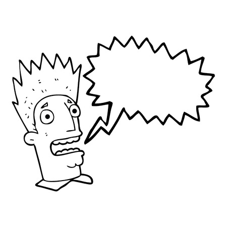 shocked man: freehand drawn speech bubble cartoon shocked man