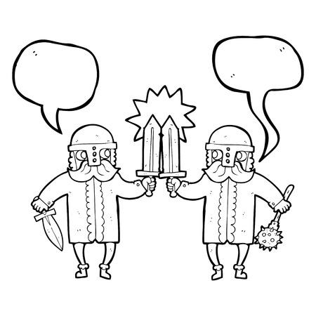 warriors: freehand drawn speech bubble cartoon viking warriors