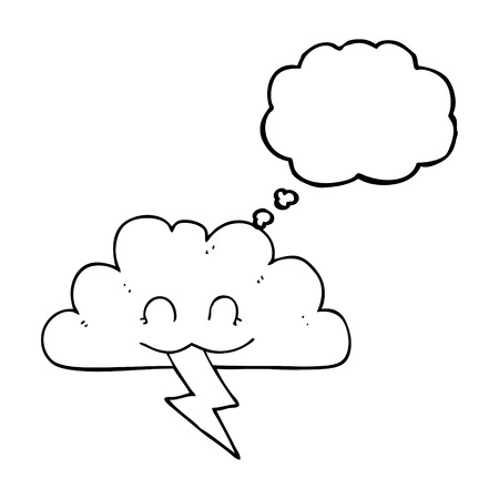 storm cloud: freehand drawn thought bubble cartoon storm cloud