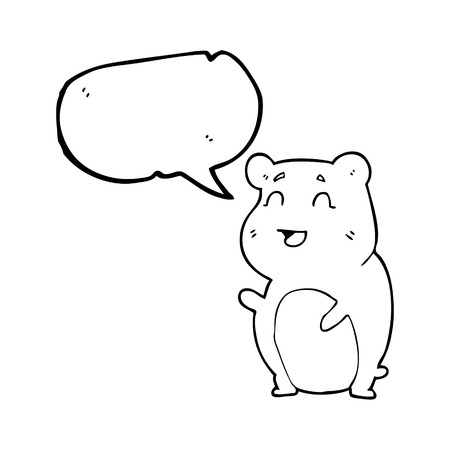 cute hamster: freehand drawn speech bubble cartoon cute hamster Illustration