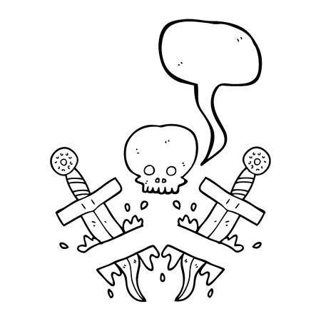 dagger tattoo: freehand drawn speech bubble cartoon dagger tattoo