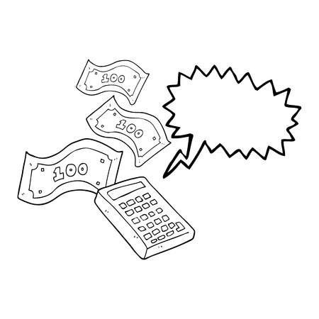 counting money: freehand drawn speech bubble cartoon calculator counting money Illustration