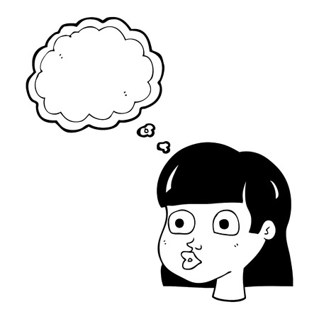 interested: freehand drawn thought bubble cartoon female face Illustration