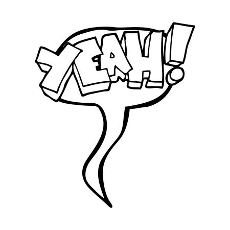 yeah: yeah! freehand drawn speech bubble cartoon shout