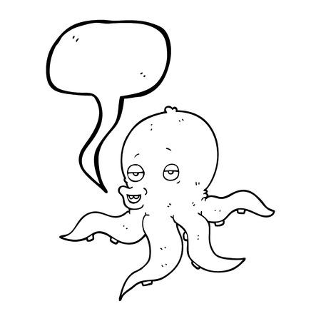 cartoon octopus: freehand drawn speech bubble cartoon octopus