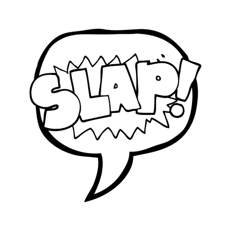 slap: freehand drawn speech bubble cartoon slap symbol Illustration
