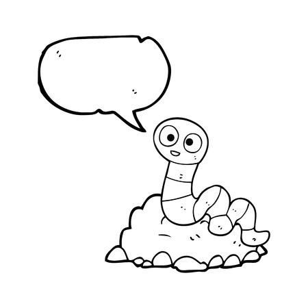 earthworm: freehand drawn speech bubble cartoon earthworm
