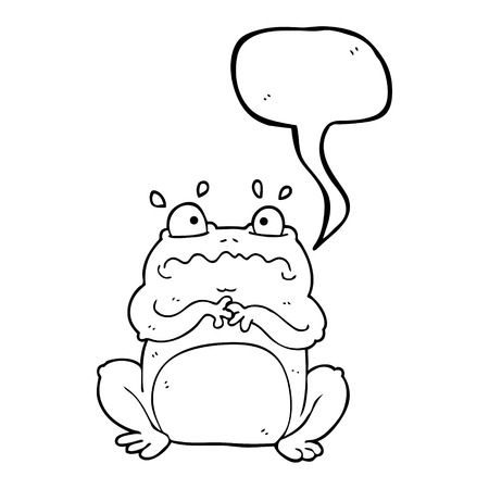 crazy frog: freehand drawn speech bubble cartoon funny frog