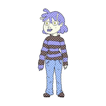 alien clipart: freehand drawn cartoon casual alien girl