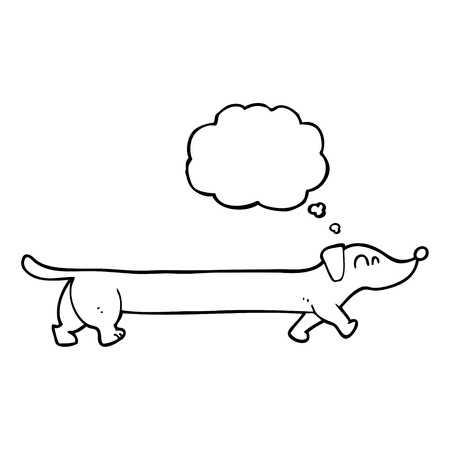 thought bubble: freehand drawn thought bubble cartoon dachshund