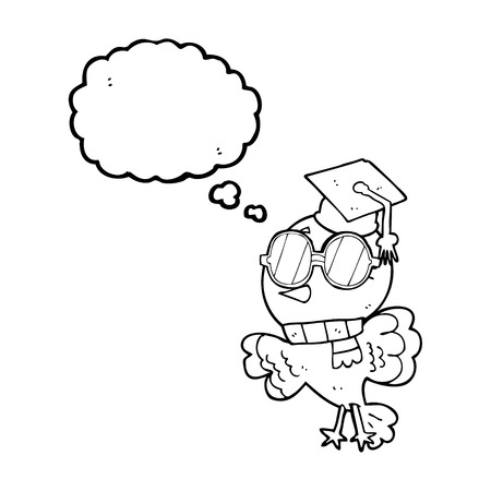 educated: cute freehand drawn thought bubble cartoon well educated bird