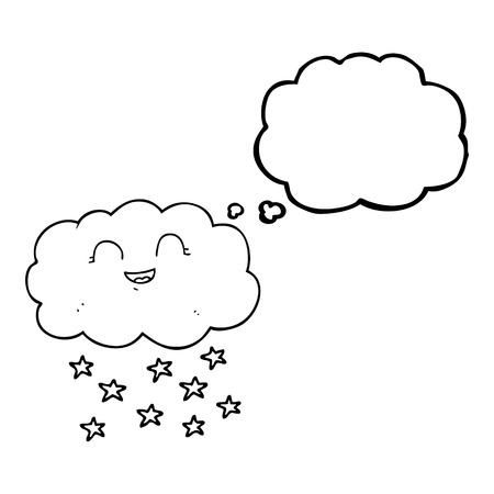 snowing: freehand drawn thought bubble cartoon cloud snowing Illustration