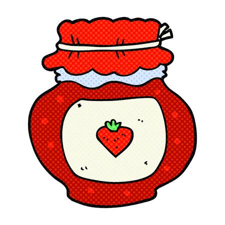 freihändig gezeichnete Karikatur Marmeladenglas