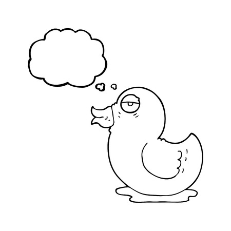 rubber duck: freehand drawn thought bubble cartoon rubber duck Illustration