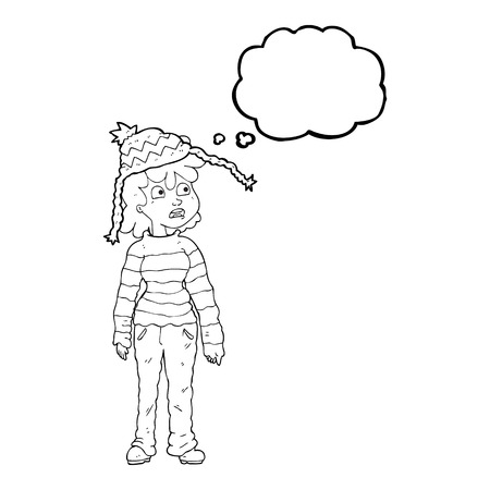sad teenage girl: freehand drawn thought bubble cartoon teenager Illustration