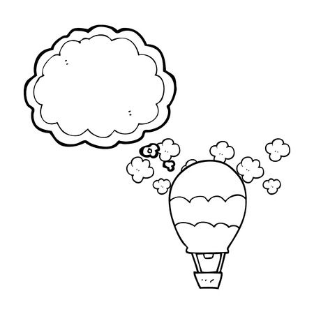thought balloon: freehand drawn thought bubble cartoon hot air balloon