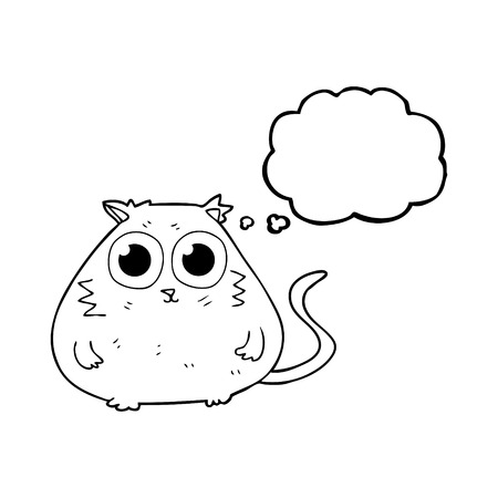 pretty eyes: freehand drawn thought bubble cartoon cat with big pretty eyes