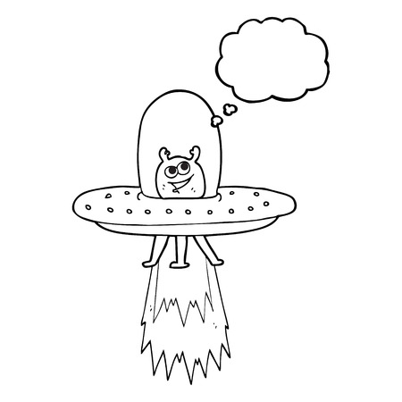 cartoon space: freehand drawn thought bubble cartoon space alien Illustration