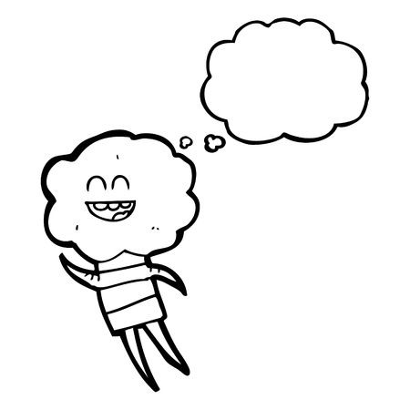 creature: freehand drawn thought bubble cartoon cute cloud head creature Illustration