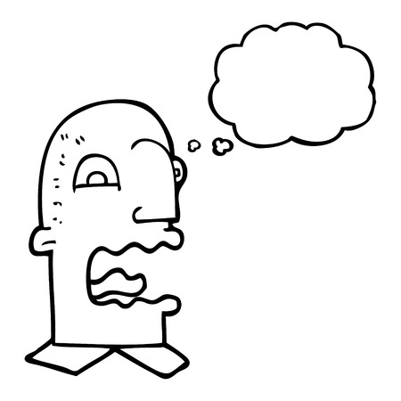 freehand drawn thought bubble cartoon burping man