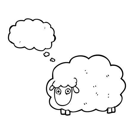 farting: freehand drawn thought bubble cartoon farting sheep
