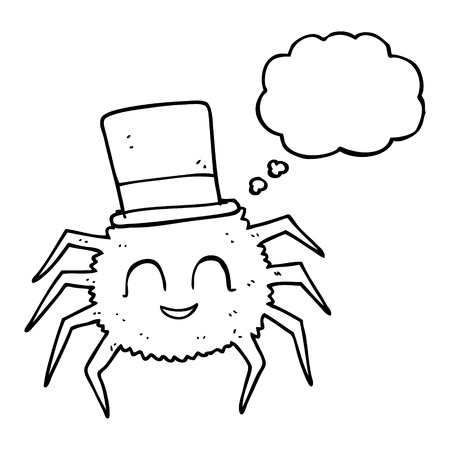 top hat cartoon: freehand drawn thought bubble cartoon spider wearing top hat Illustration