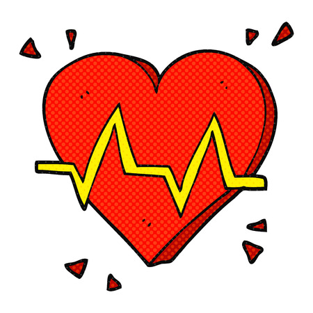 heart rate: freehand drawn cartoon heart rate Illustration