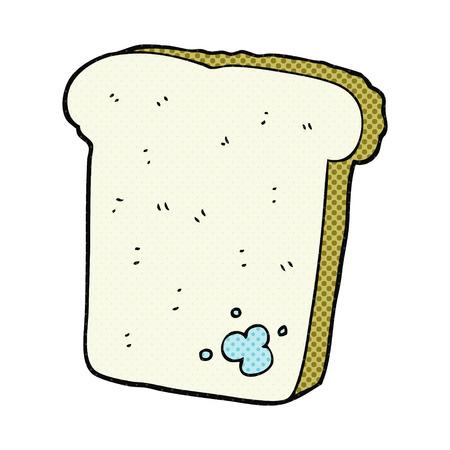 mould: freehand drawn cartoon mouldy bread
