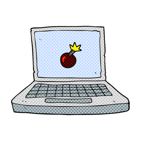 cartoon bomb: freehand drawn cartoon laptop computer with bomb symbol