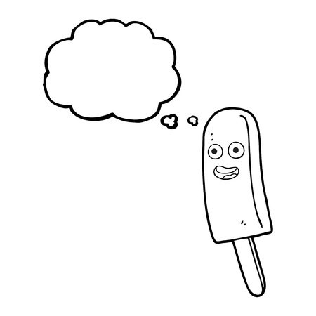 unhealthy thoughts: freehand drawn thought bubble cartoon ice lolly