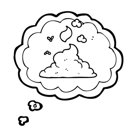 steaming: freehand drawn thought bubble cartoon steaming pile of poop Illustration