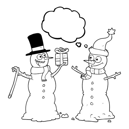 exchanging: freehand drawn thought bubble cartoon snowmen exchanging gifts Illustration