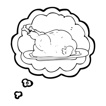 cooked: freehand drawn thought bubble cartoon cooked chicken