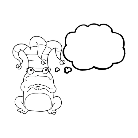 jester hat: freehand drawn thought bubble cartoon frog wearing jester hat