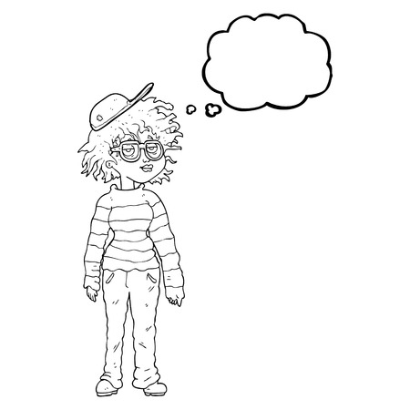 freehand drawn thought bubble cartoon geeky girl