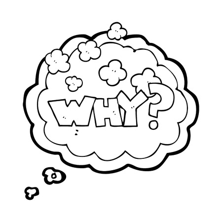 shout: freehand drawn thought bubble cartoon shout WHY? Illustration