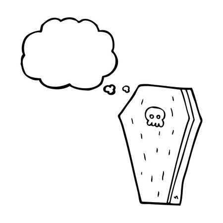 trumna: freehand drawn thought bubble cartoon halloween coffin Ilustracja